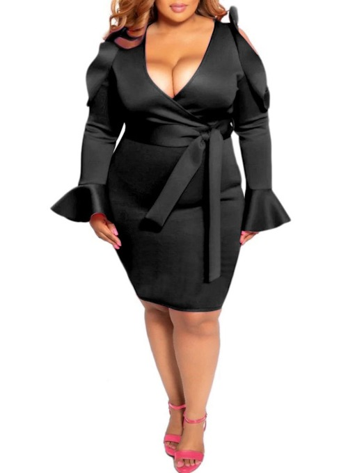 Plus Size Knee-Length Long Sleeve V-Neck Hollow Bodycon Women's Dress