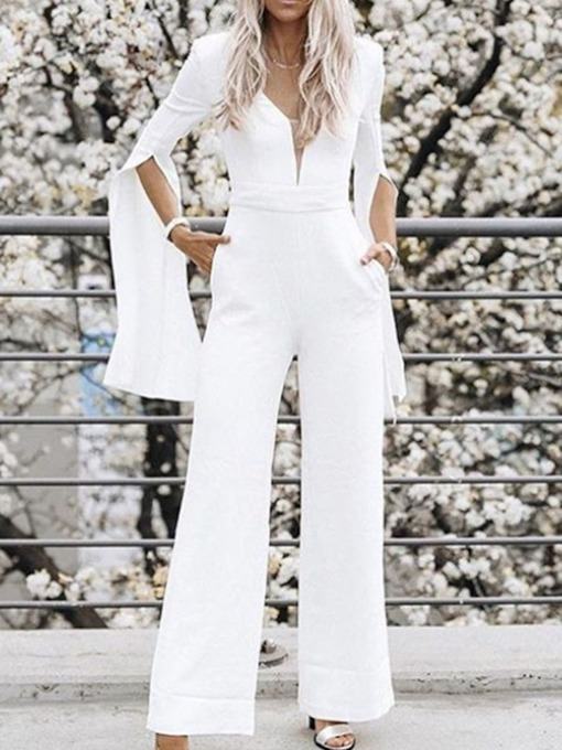 Plain Mid-Calf Western Straight Women's Jumpsuit
