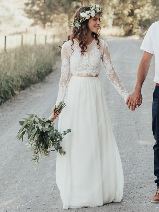 Boho Two Pieces Long Sleeves Lace Beach Wedding Dress 2019