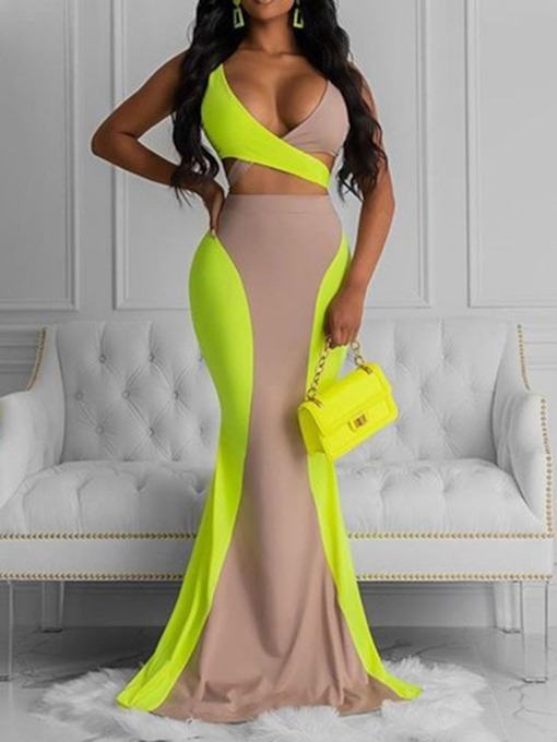 Skirt Sexy Lace-Up Color Block Mermaid Women's Two Piece Sets
