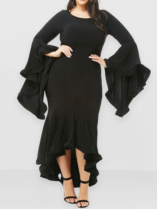 Plus Size Round Neck Asymmetric Long Sleeve Women's Dress