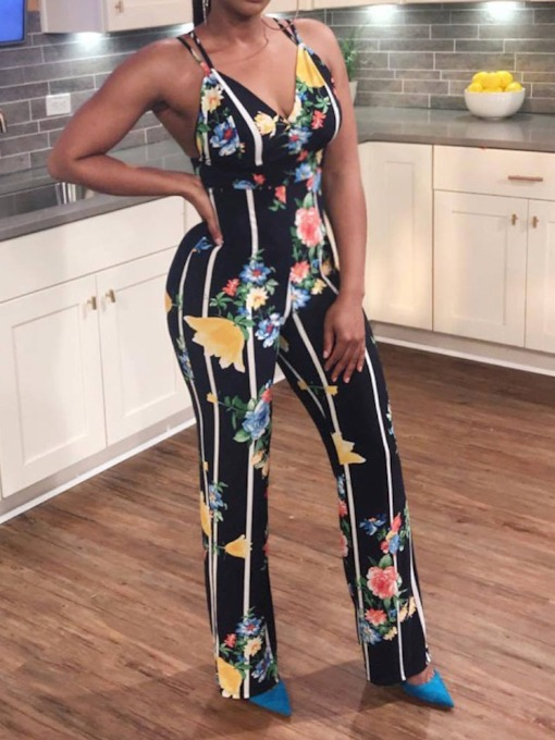 Full Length Stripe Print Western Straight Women's Jumpsuit