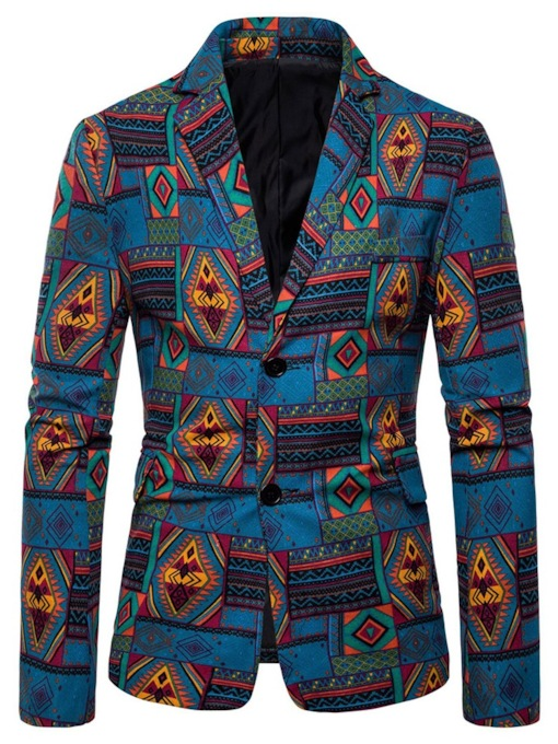 Casual Button Geometric Color Block African Fashion Slim Fit Men's leisure Suit