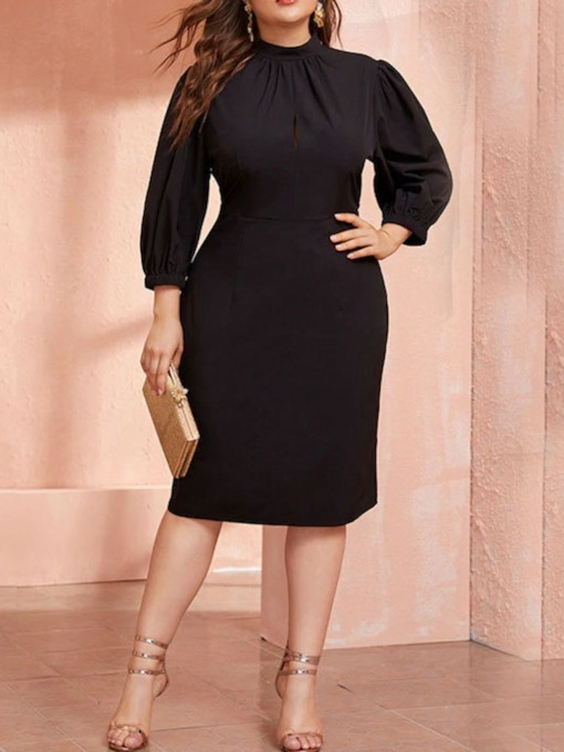 Plus Size Three-Quarter Sleeve Pleated Stand Collar Lantern Sleeve Women's Dress