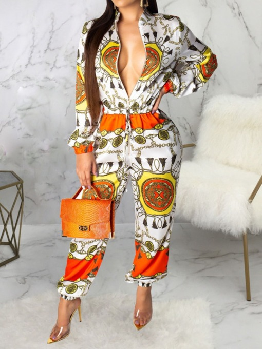 Color Block Print Full Length Western Loose Women's Jumpsuit