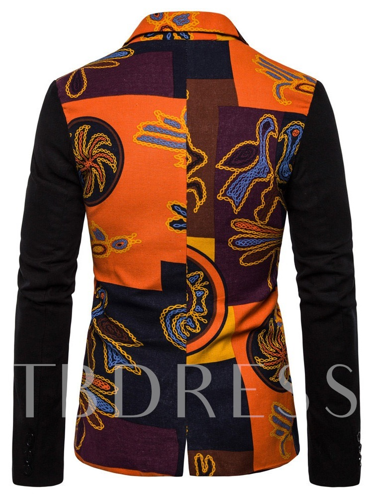 African Fashion Slim Notched Lapel Color Block Single-Breasted Men's leisure Suit