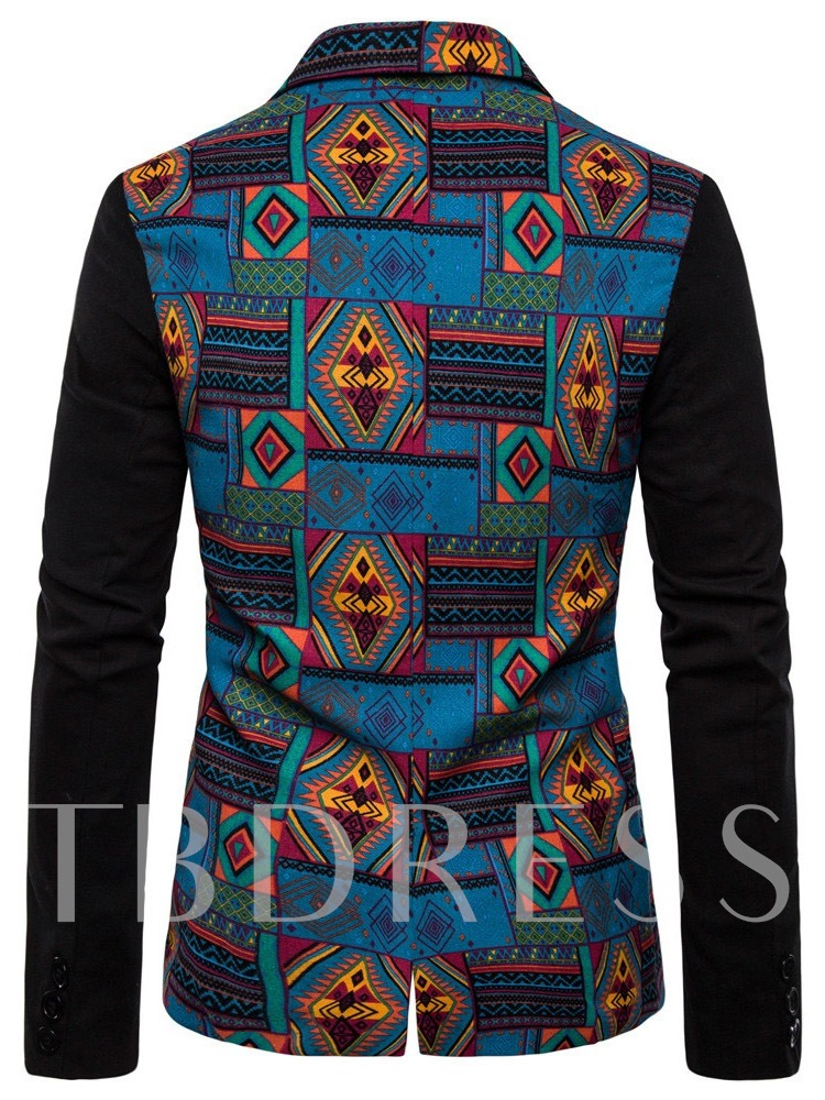 National Style Color Block Single-Breasted Button Notched Lapel African Fashion Men's leisure Suit