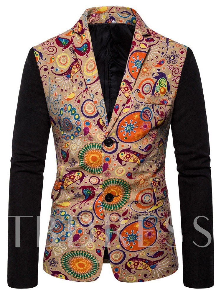 Button Notched Lapel Casual Single-Breasted Men's leisure Suit