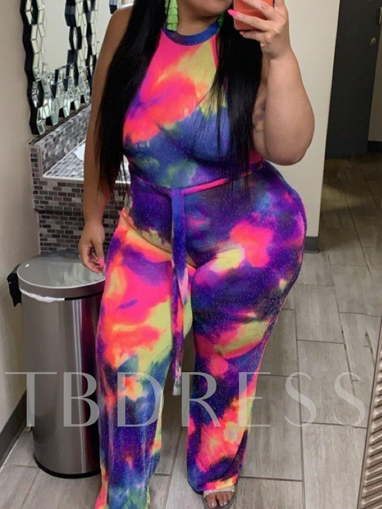 Plus Size Full Length Fashion Print Wide Legs Women's Jumpsuit