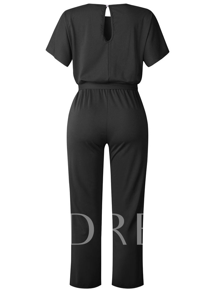 Full Length Lace-Up Casual Plain Straight Women's Jumpsuit