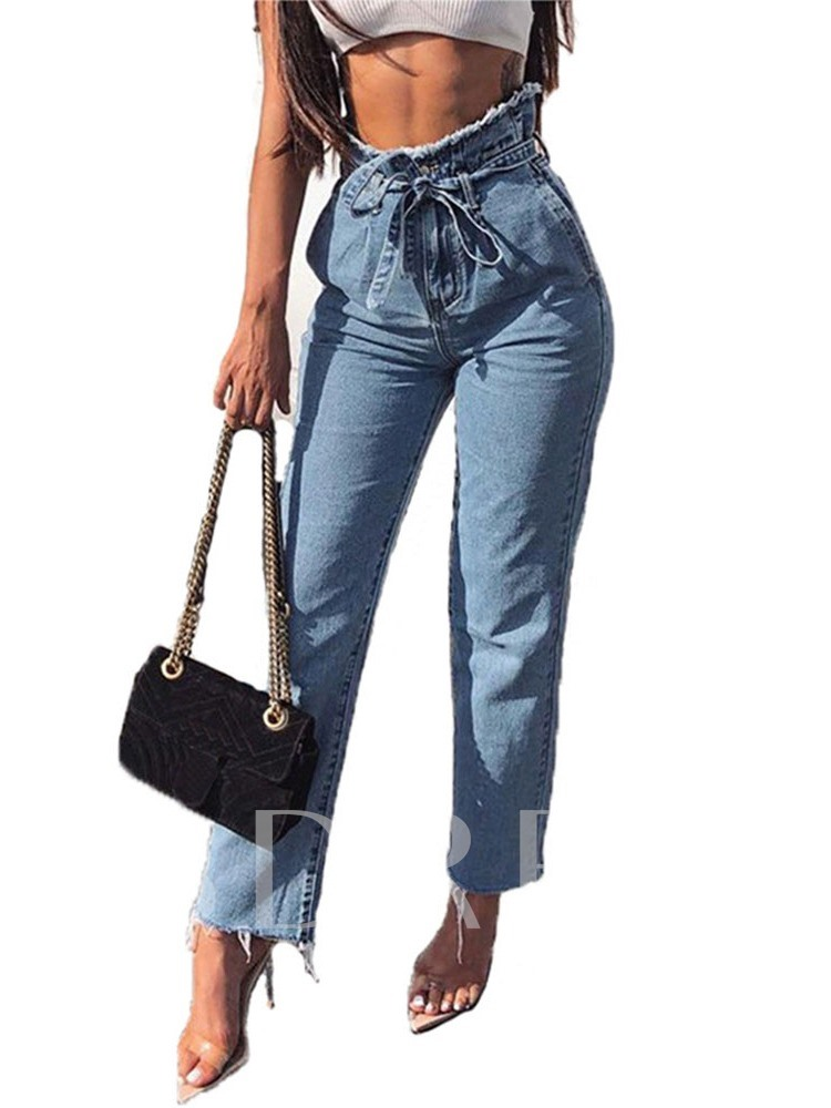 Plain Pencil Pants Zipper Slim Women's Jeans