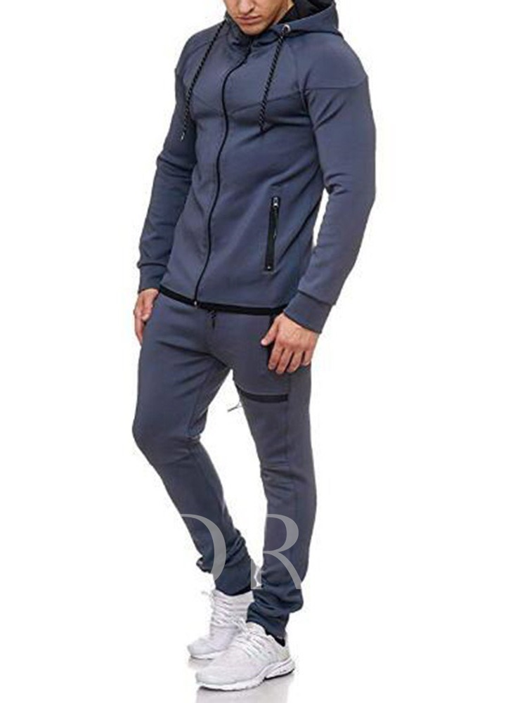 Casual Cotton Solid Color Patchwork Color Block Hoodie Full Length Men's Outfit