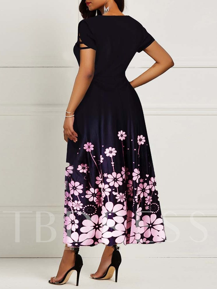 Round Neck Short Sleeve Floral Print Women's Maxi Dress