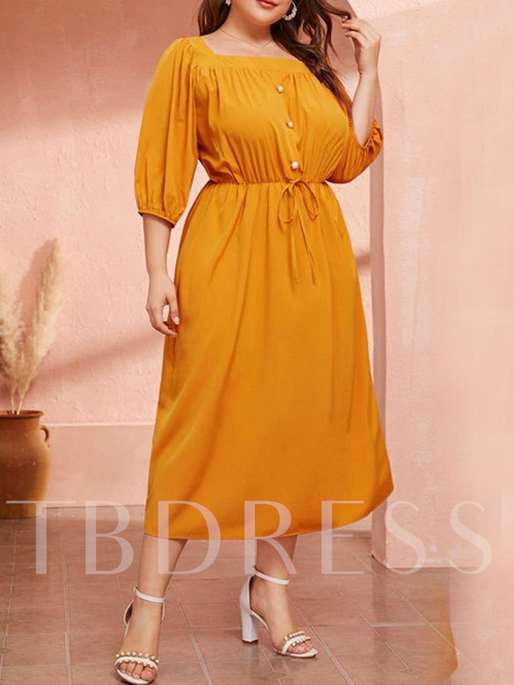 Plus Size Pleated Square Neck Lantern Sleeve Women's Dress