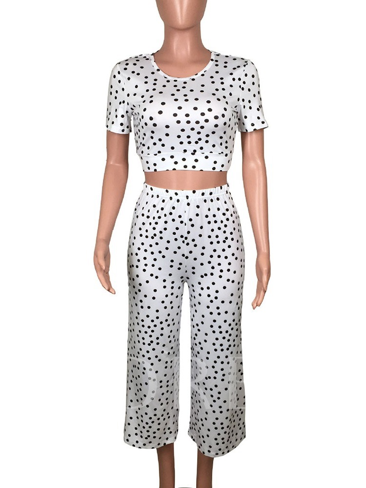 Mid-Calf Pants Print Polka Dots Western Round Neck Women's Two Piece Sets