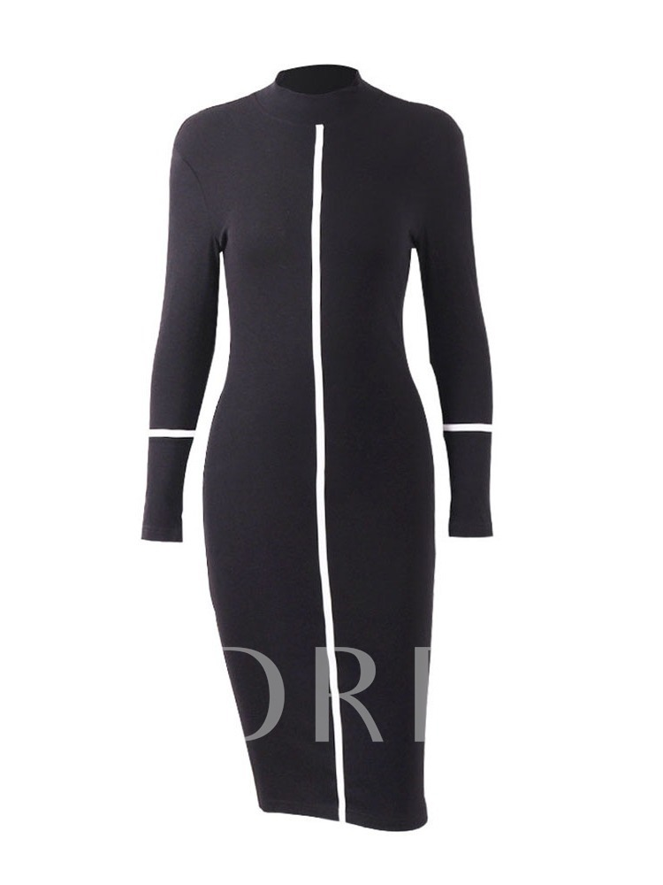Turtleneck Long Sleeve Mid-Calf Print High Waist Women's Bodycon Dress