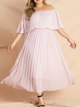 Plus Size Three-Quarter Sleeve Pleated Off Shoulder Pullover Women's Dress