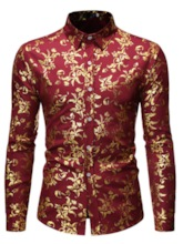Fashion Casual Gilded Flower Shirt Color Block Print Lapel Slim Men's Shirt