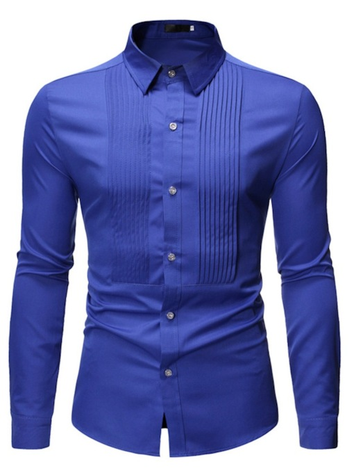 Fashion Casual Plain Pleated Design Button Lapel Long Sleeves Men's Shirt