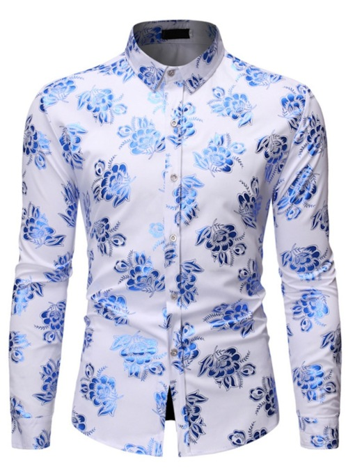 Casual Lapel Color Block Floral Print Spring Long Sleeves Men's Shirt