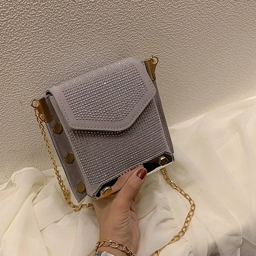 Rhinestone Plain Rectangle Women's Cross Body Bags