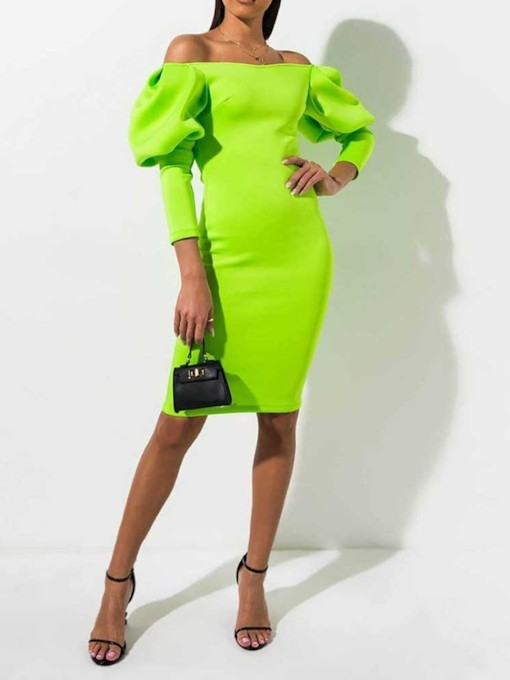 Off Shoulder Long Sleeve Sexy Women's Bodycon Dress