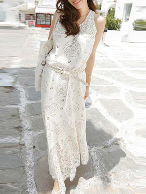 Sleeveless Ankle-Length Floral Round Neck Women's Maxi Dress