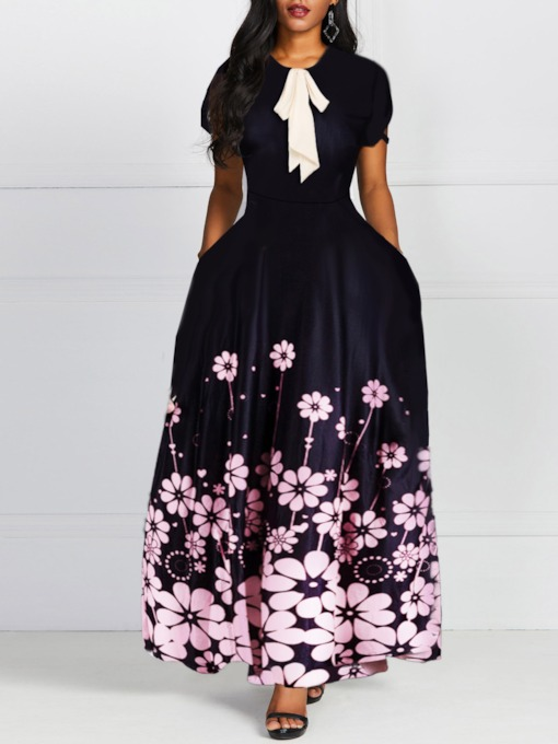 Round Neck Print Ankle-Length Short Sleeve Women's Maxi Dress