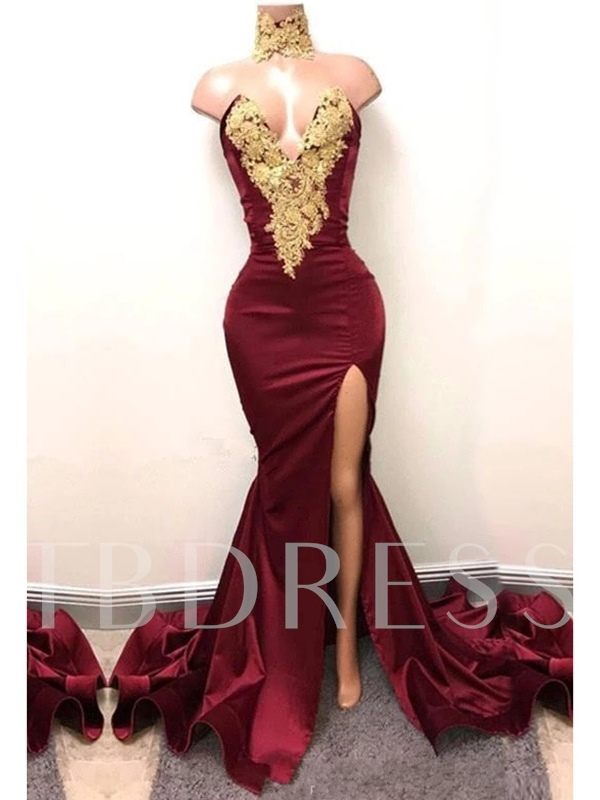 V-Neck Appliques Split-Front Mermaid Evening Dress 2019