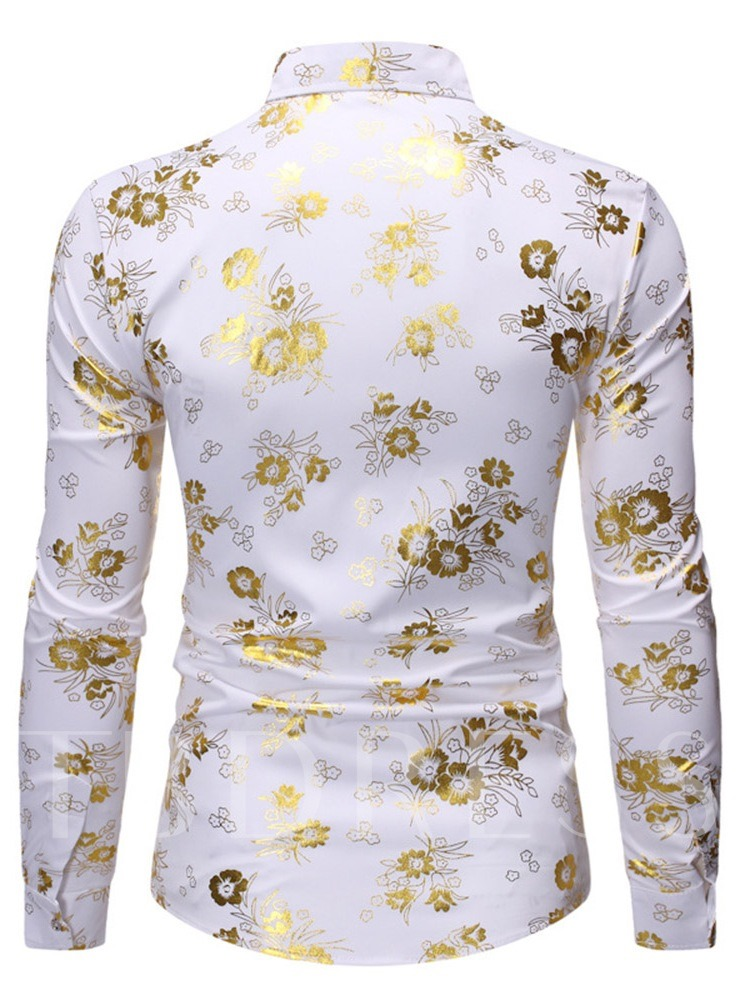 Luxry Stylish Floral Button Casual Lapel Color Block Long Sleevesl Slim Fit Men's Shirt