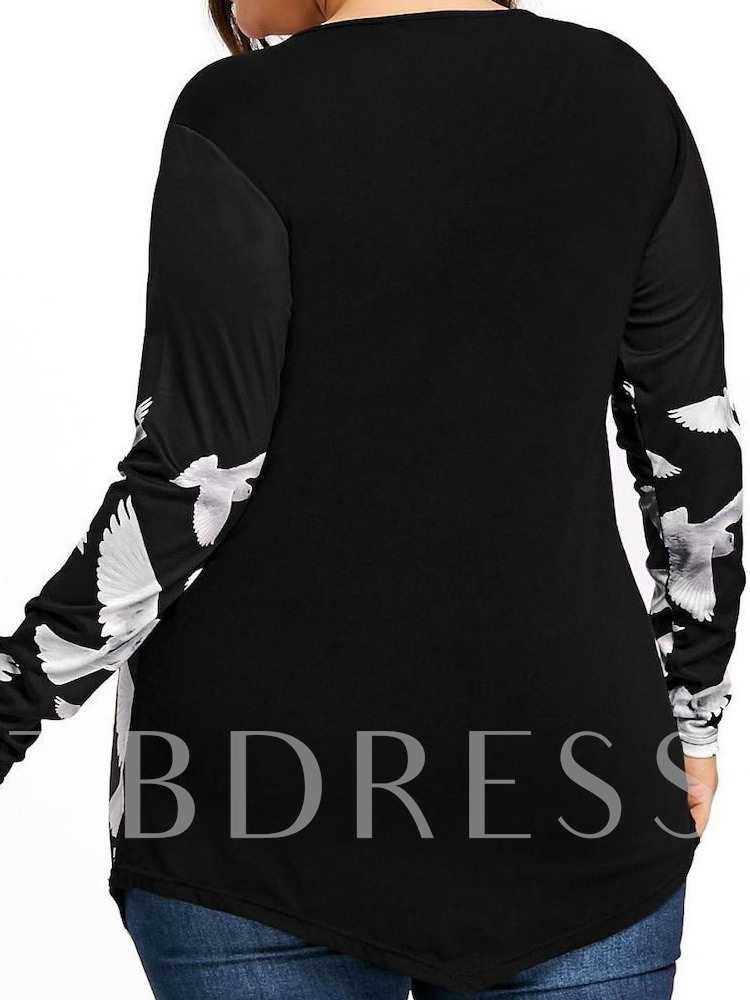 Plus Size Animal Mid-Length V-Neck Long Sleeve Loose Women's T-Shirt