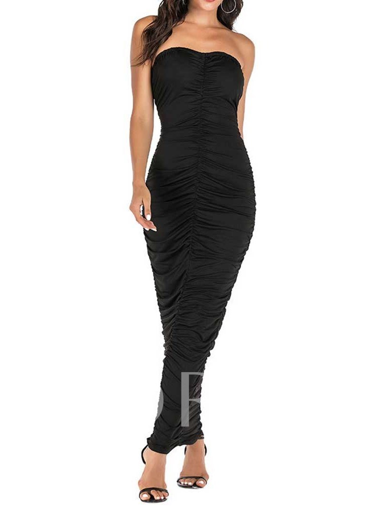 Sleeveless Pleated Off Shoulder Bodycon Women's Maxi Dress