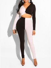 Shirt Color Block Western Pullover Women's Two Piece Sets