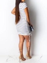 Scoop Short Sleeve Lace-Up Sexy Women's Bodycon Dress