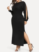 Plus Size Split Round Neck Long Sleeve Pullover Women's Dress