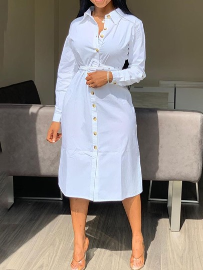 Polo Neck Long Sleeve Single-Breasted Womens Maxi Dress Polo Neck Long Sleeve Single-Breasted Women's Maxi Dress