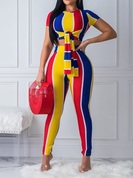 Print Color Block Western Pants Pencil Pants Women's Two Piece Sets