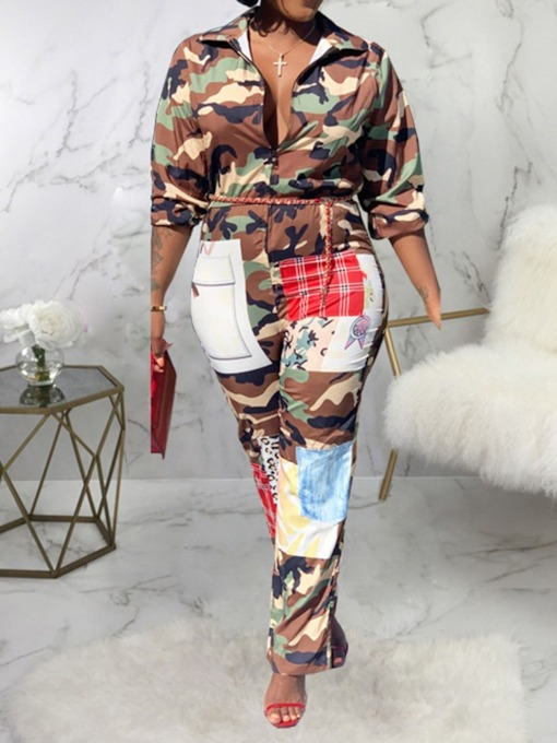 Western Camouflage Print Full Length Straight Women's Jumpsuit