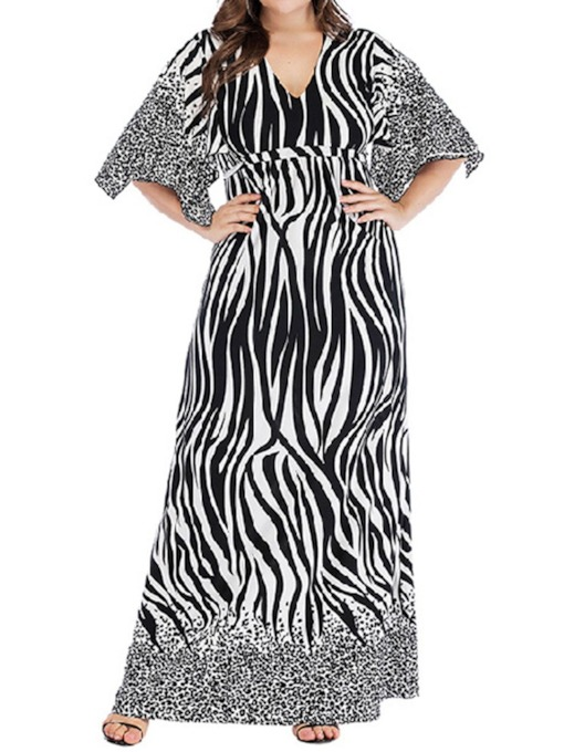 Plus Size V-Neck Ankle-Length Lace-Up Zebra-Stripe Women's Dress