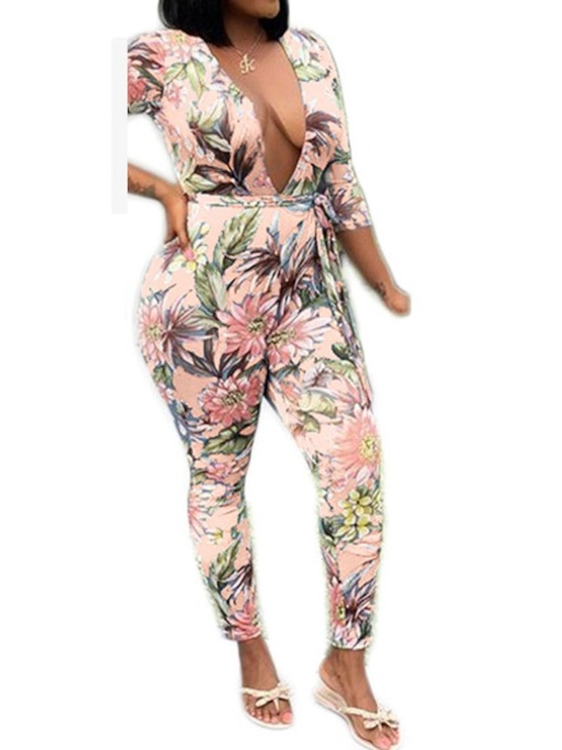 Lace-Up Floral Fashion Ankle Length Skinny Women's Jumpsuit