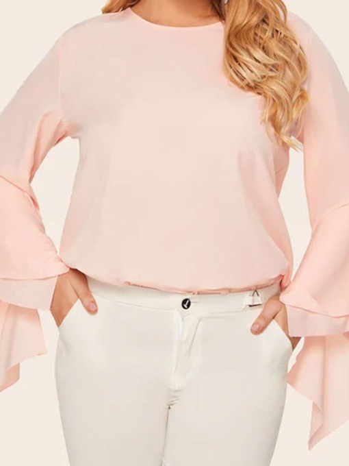 Plus Size Flare Sleeve Round Neck Plain Mid-Length Women's Blouse