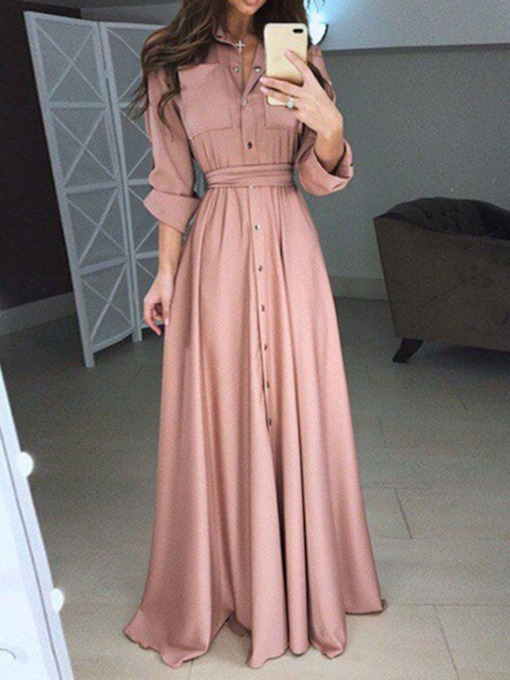 Pleated Polo Neck Nine Points Sleeve Expansion Women's Maxi Dress