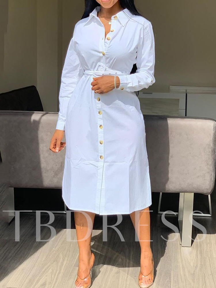 Polo Neck Long Sleeve Single-Breasted Women's Maxi Dress