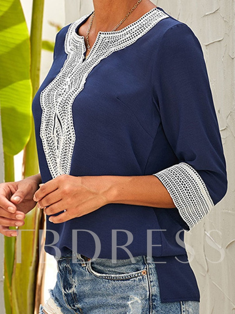 Color Block Embroidery Three-Quarter Sleeve Women's Blouse