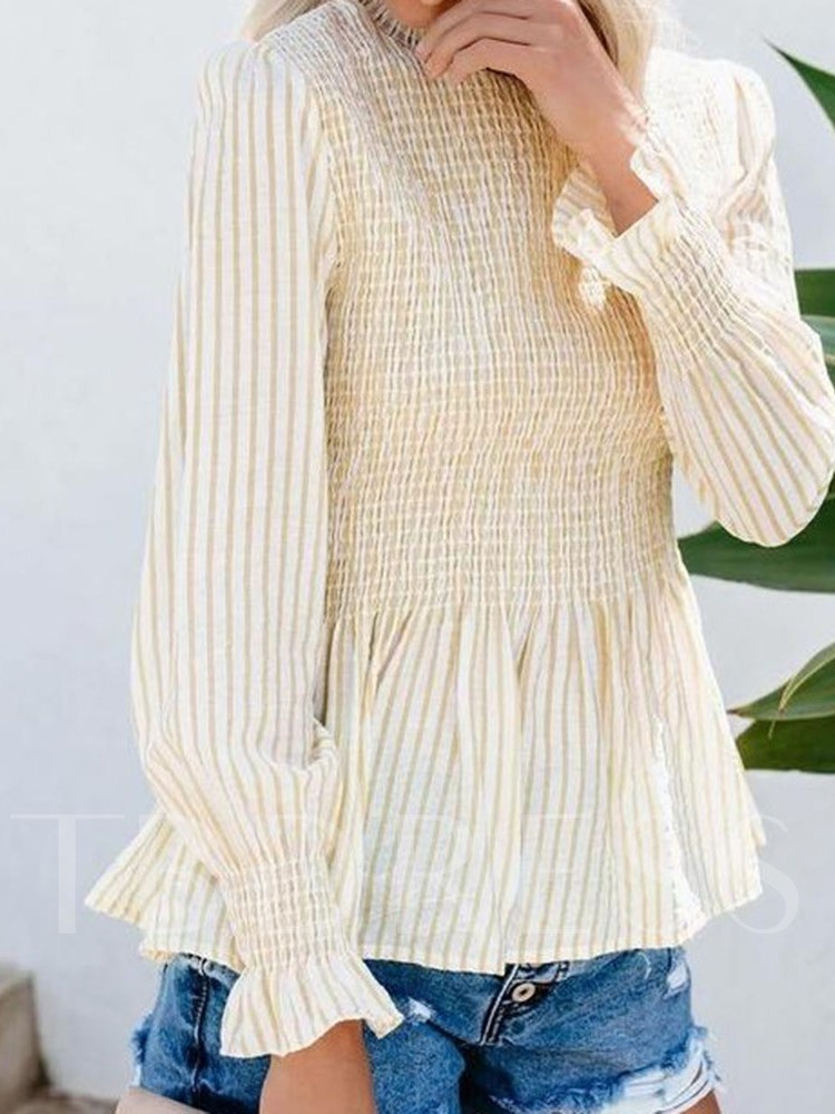 Print Flare Sleeve Stripe Stand Collar Mid-Length Women's Blouse