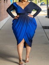 Plus Size Pleated V-Neck Long Sleeve Asymmetrical Women's Dress