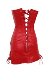 Lace-Up Leather Corset with Dress
