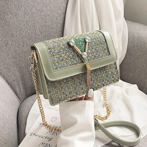 Knitted Chain Rectangle Women's Crossbody Bags