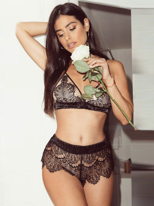 Hollow Geometric Lace Sexy Bra Set