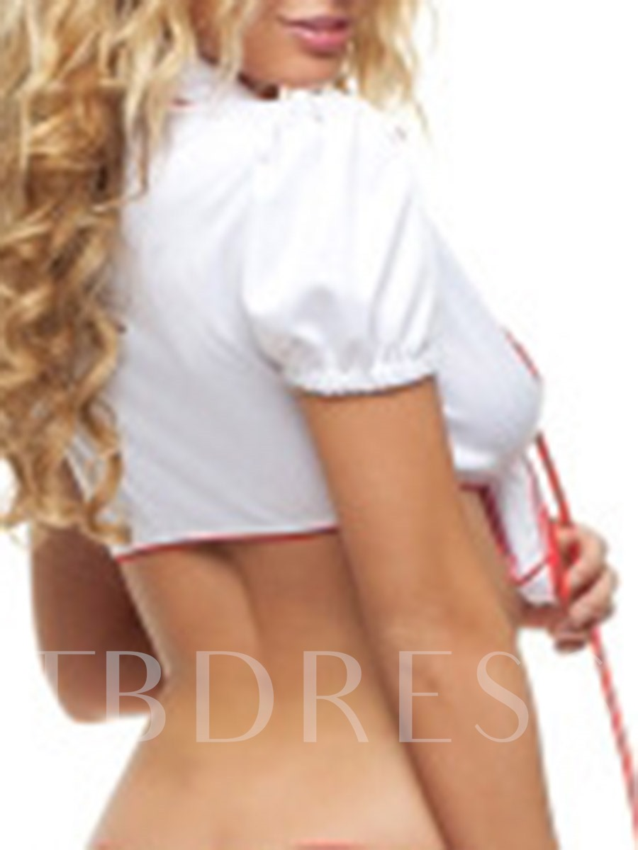 Heart Shaped Print Short Sleeve Nurse Costume